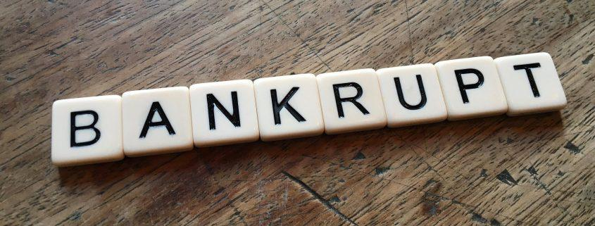 Scrabble letters of bankrupt