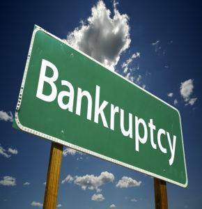 Bankruptcy sign ahead