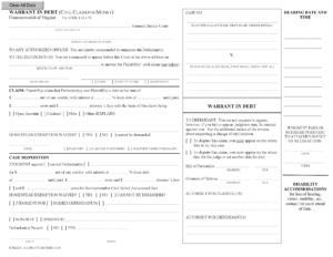 Warrant in Debt Template