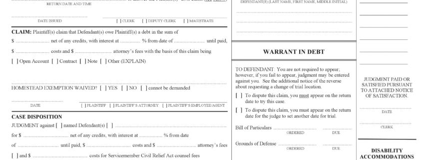 Warrant in Debt Template